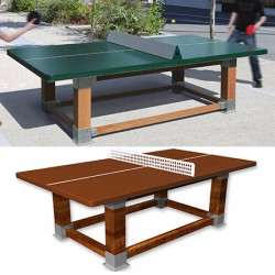 Table de ping pong antichoc espaces publics pieds bois et plateau HD 60 mm terre battue