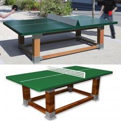 Table de ping pong antichoc espaces publics pieds bois et plateau HD 60 mm vert
