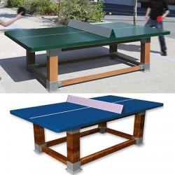 Table de ping pong antichoc espaces publics pieds bois et plateau HD 60 mm filet sécurit bleu