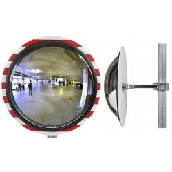 Miroir multi-usages panoramiques vision 180° cadre rouge et blanc diam. 400 mm garantie 6 ans
