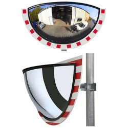 Miroir multi-usages panoramiques 1/2 vision 180° cadre rouge et blanc diam. 600 mm garantie 3 ans