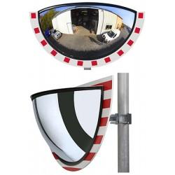 Miroir multi-usages panoramiques 1/2 vision 180° cadre rouge et blanc diam. 900 mm garantie 6 ans