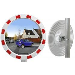 Miroir industrie rayures rouges et blanches Eco diam 800 mm garantie 1 an