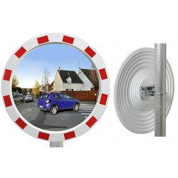 Miroir industrie rayures rouges et blanches Eco diam 1000 mm garantie 1 an