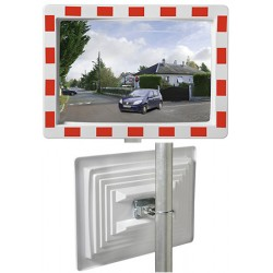 Miroir industrie rayures rouges et blanches Eco 800x1000 mm garantie 1 an