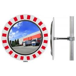 Miroir industrie rayures rouges et blanches diam 800 mm garantie 6 ans