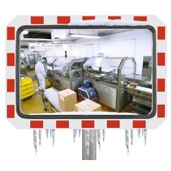 Miroir industrie rayures rouges et blanches inox poli antigivre 400x600 mm garantie 10 ans
