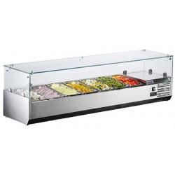 Présentoir saladette 7x1/3 GN inox L160 cm