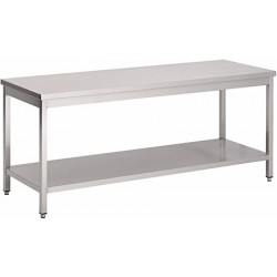 Table de travail soudée inox L 140 cm
