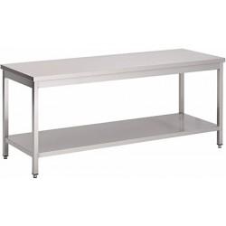 Table de travail soudée inox L 200 cm