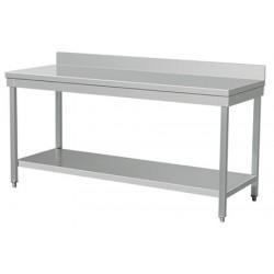 Table de travail inox avec dosseret L200xP60 cm