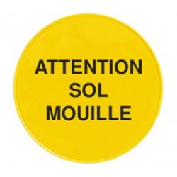 """Panneau de signalisation """"attention sol mouille"""" pour cone de sécurité"""