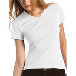 Lot de 100 tee-shirts femme col V premium blanc 190 g