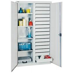Armoire d'atelier avec paroi médiane 16 tiroirs et 4 tablettes L100 x P50 x H180 cm
