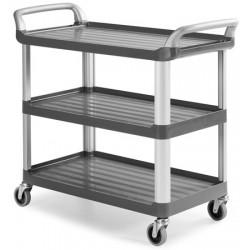 Chariot ergonomique HACCP 3 plateaux gris