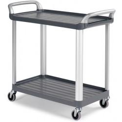 Chariot ergonomique HACCP 2 plateaux gris