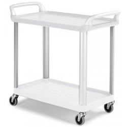 Chariot ergonomique HACCP 2 plateaux blancs