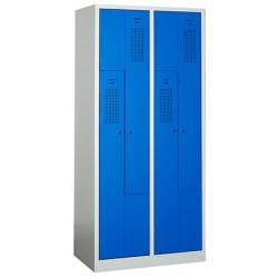 Vestiaire monobloc porte en L gris et bleu 4 cases L80 x P50 x H180 cm