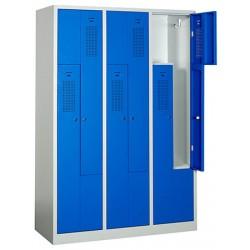 Vestiaire monobloc porte en L gris et bleu 3 cases  L118,5 x P50 x H180 cm