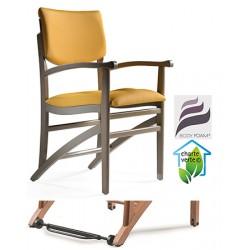 Bridge bois Althéa assise et dossier garnis tissu 1 avec Easy Roll