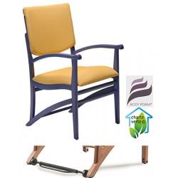 Fauteuil bois Althéa assise et dossier garnis tissu 1 avec Easy Roll