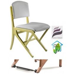 Chaise appui sur table bois Jasmin assise et dossier garnis tissu 1 avec Easy Roll