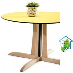Table de restauration à dégagement latéral Rose bois plateau Top Resist h75 x diam 120 cm