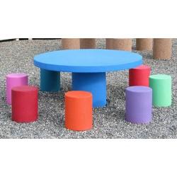 Table pique-nique et 8 tabourets enfants en béton coloré