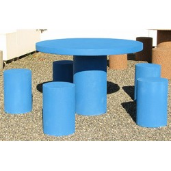 Table pique-nique ronde et 5 tabourets en béton coloré