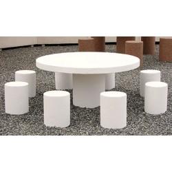 Table pique-nique et 8 tabourets enfants en béton blanc