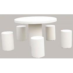 Table pique-nique ronde et 5 tabourets en béton blanc