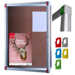Vitrine d'intérieur Fusion porte verre fond liège 6 A4 L74,5xH70,1 cm