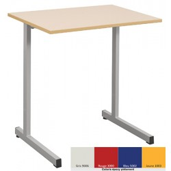 Lot de 2 tables scolaires NF à dégagement latéral Quatro mélaminé PVC 70x50 cm T6 coloris stock