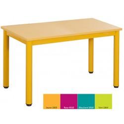 Tables maternelles NF 4 pieds Joséphine 120x60 cm mélaminé chant pvc T2 ou T3 coloris stock