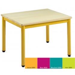 Lot de 2 tables maternelles NF 4 pieds Joséphine 60x50 cm mélaminé chant PVC T3 coloris stock