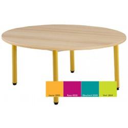 Tables maternelles NF 4 pieds Joséphine ronde ø 120 cm mélaminé chant pvc T2 ou T3 coloris stock