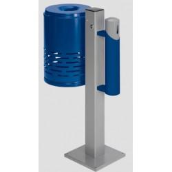 Ensemble poubelle 47L cendrier 1,4L bleu et gris sur pied Camomille