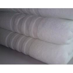 Lot de 12 tapis de bain 50x70 cm 100% coton blanc liteaux toile 650g