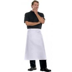Tablier mi-long 100% coton blanc 100x80 cm