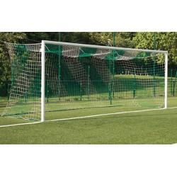 Filets de foot à 11 ligue 1 TPE 4 mm avec bande PVC forme européenne (la paire)