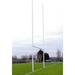Poteaux de rugby à sceller hauteur 8 m en alu Ø101,6 mm sur charnières (la paire)