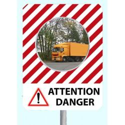 """Miroir de sécurité à message cadre rouge et blanc 900 x 1200 mm """"ATTENTION DANGER"""""""