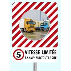 """Miroir de sécurité à message cadre rouge et blanc 900 x 1200 mm """"VITESSE LIMITEE"""""""