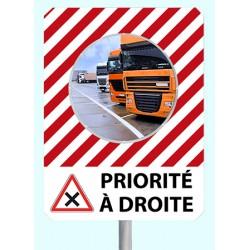 """Miroir de sécurité à message cadre rouge et blanc 900 x 1200 mm """"PRIORITE A DROITE"""""""