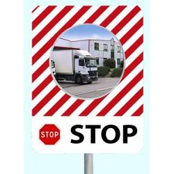 """Miroir de sécurité à message cadre rouge et blanc 900 x 1200 mm """"STOP"""""""