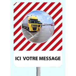 """Miroir de sécurité à message cadre rouge et blanc 900 x 1200 mm """"ICI VOTRE MESSAGE"""""""