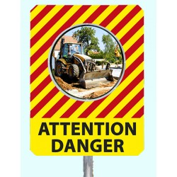 "Miroir de chantier temporaire ""ATTENTION DANGER"""