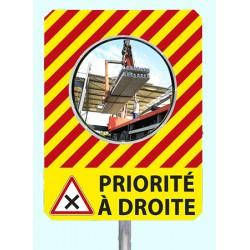 """Miroir de chantier temporaire """"PRIORITE A DROITE"""""""
