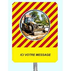 """Miroir de chantier temporaire message personnalisé """"ICI VOTRE MESSAGE"""""""