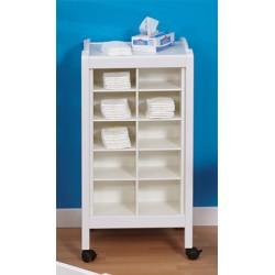 Meuble de rangement bois blanc bi-faces 20 cases sur roulettes